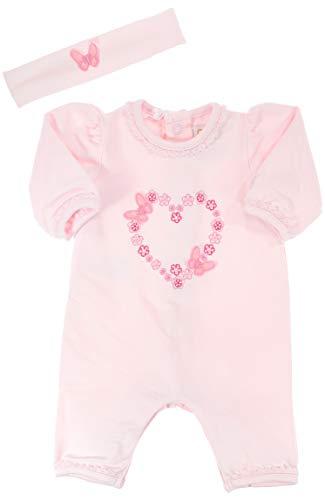 Emile et Rose festlicher Overall ohne Fuß rosa mit Stirnband und Stickerei für Mädchen, Festmode für Taufe & Hochzeit, Gr. 56
