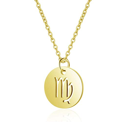 Stainless Steel 12 Constellation Charm Necklaces Women Jewelry High Polish Zodiac Pendant Necklace