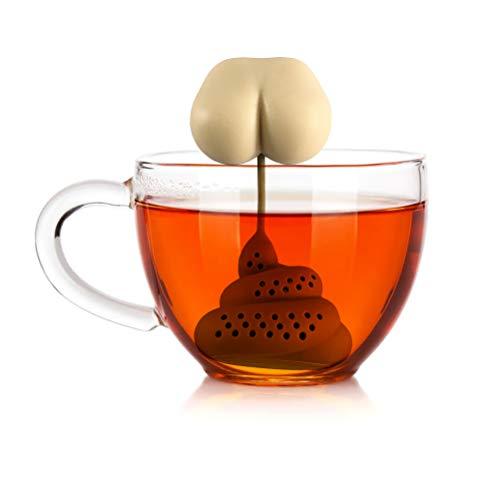 Loseblatt-Tee-Ei, Kacke geformter Tee-Filter Lustiger Silikon-Tee-Ei-tragbarer Teesieb-wiederverwendbarer sicherer Loseblatt-Tee-Beutel-Sieb-Filter