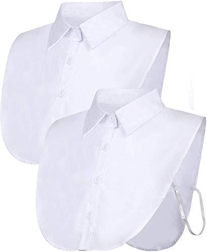 JFAN Falso Mezzo Camicia Camicetta 2 Pezzi 3 Pezzi Peterpan Collare Collare Staccabile Cravatta Unisex Donna Umono