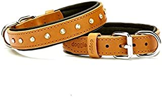 "Dropool Comfort Handcrafted Premium, Luxury Genuine Leather Collar with Licensed Swarovski Crystals (M I 16-19.6"", Camel)"