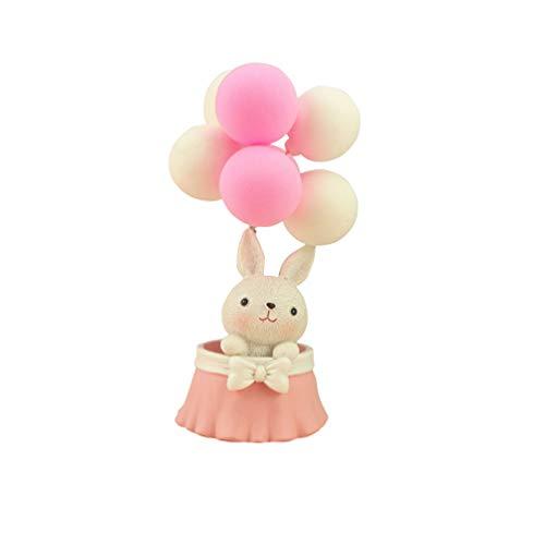Amosfun Konijn Taart Topper Ballon Cupcake Topper Miniatuur Animal Figurine Ornament Micro Landschap Decor Valentijnsdag Verjaardag Baby douche Kerstmis Gift 12.5*7.5*7.5cm Afbeelding 2