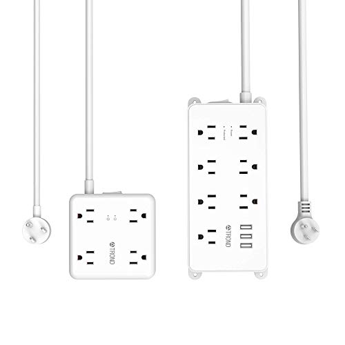 TROND Power Strip Surge Protector with USB Ports, Multiple Outlet Expansion, Low Profile Flat Plug, Wall Mountable