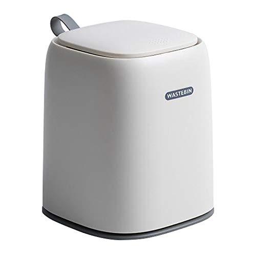 petsola Mini cubo de basura de escritorio hogar cesta de basura mesa de basura con tapa creativa Oficina hogar Mini cubo de basura - Blanco
