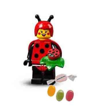 Lego 71029 - Minifiguras de la serie 21, figura nmero 4, mujer con mariquita, disfraz de Ladybug y 1 x mezcla de frutas y pegatinas