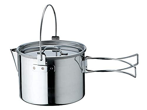 Snow Peak - Kettle No. 1 with Lid CS-068 - Stainless Steel, Made in Japan, Foldable for Backpacking and Camping - 30.4 Oz