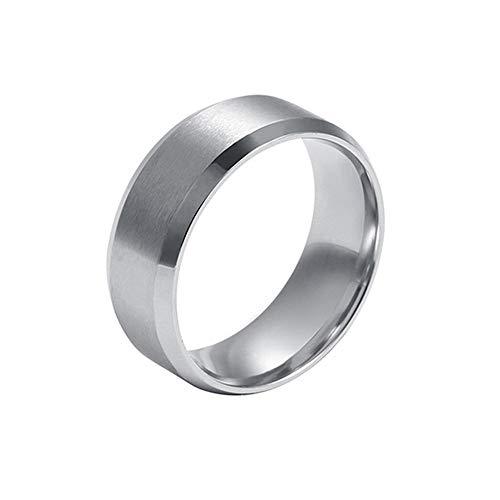Amesii Anello unisex a fascia, 8mm, in acciaio e titanio lucidato, fede nuziale e Lega, 17, colore: Silver, cod. AME