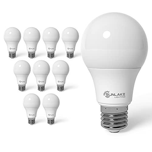 SunLake 10 Pack Standard LED Light Bulb, A19, E26 Base, 4000k Cool White, 15 WATT (100 WATT Equivalent) , 1600 LUMENS, Dimmable , UL & Energy Star