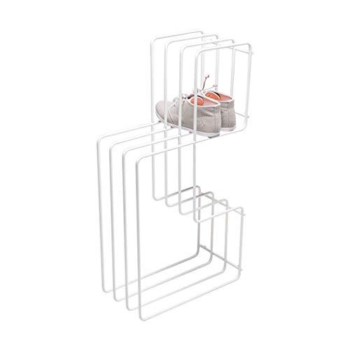 FACAZ Estante de Zapatos Multicapa de Hierro nórdico, Blanco, Creativo, pequeño, Multifuncional, Estante de Zapatos para vestíbulo/Sala de Estar/balcón/Dormitorio/baño