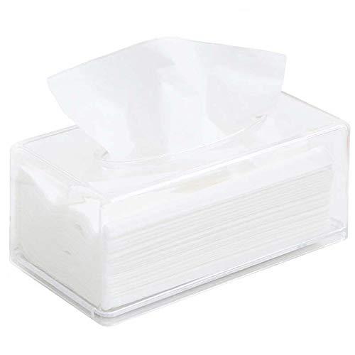 Scatola Porta Fazzoletti Multifunzione Organizer da Scrivania Scatola del Tessuto Porta Carta Igienica Dispenser per la Casa, Bagno, Ufficio e Auto, Plastica (Bianco, sizze1)