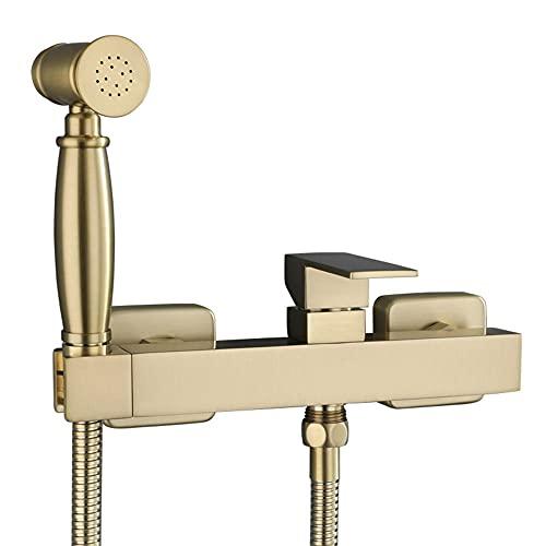 Grifos de Bidé Shattaf Pulverizador Portatil para WC Bidé Multifuncional a Presión Oro Cepillado Caliente y Frío para Balcón de Baño Ducha Bidet para Inodoro Wc