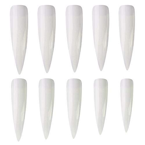 Ebanku 500 Stück Stiletto Lange Künstliche Nägel Fingernägel Nagelspitzen in 10 Größen, Voll Abdeckend Falsche Nägel Spitz False Nail Nageltips für DIY-Nagelkunst und Nagelstudios (Natürliches Weiß)