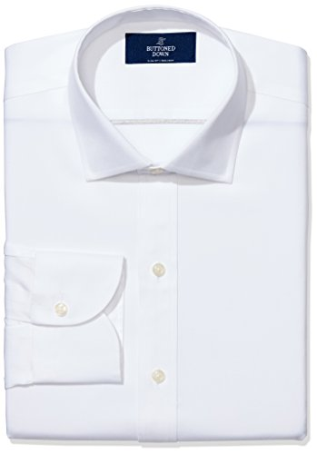 "Amazon Brand - Buttoned Down Men's Slim-Fit Spread Collar Pinpoint Non-Iron Dress Shirt, White, 16.5"" Neck 34"" Sleeve"