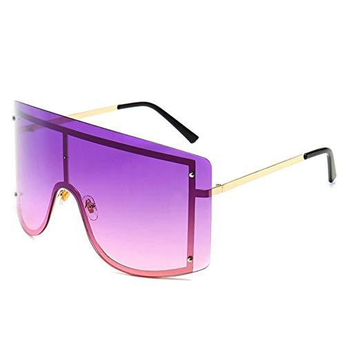 Übergroße rahmenlose große Monokel-Sonnenbrille für Damen Retro Brand Summer Outdoor Sports Sonnenschutz-Sonnenbrille