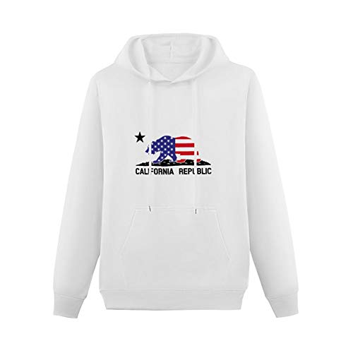LINGDIAN California Republic American Bear Hoodie Funny Graphic Pullover Hoodies For Mens Sweatshirts Hooded White M