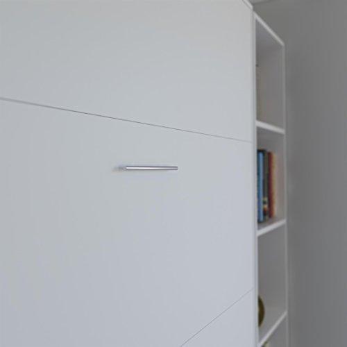 SMARTBett Basic 140×200 Vertikal Weiss Schrankbett   ausklappbares Wandbett, ideal geeignet als Wandklappbett fürs Gästezimmer, Büro, Wohnzimmer, Schlafzimmer - 8