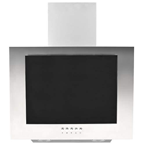 vidaXL Hotte avec LED RVB Hotte Murale Hotte Aspirante Cuisine Intérieur Maison Extrait Fumée Graisse 60 cm Acier Inoxydable et Verre Trempé