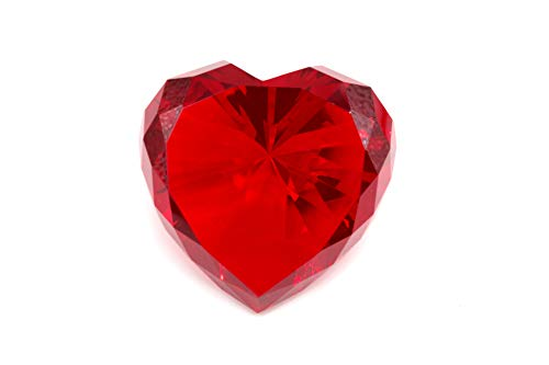 Tripact 80mm Red Color Crystal Glass Diamond Shaped Crystal Paperweight