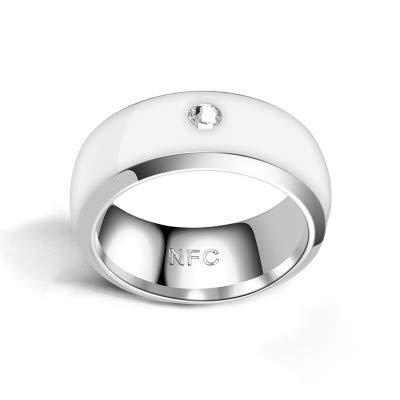 LZW Smart-Ring NFC Ring Motiv Ring Intelligente Ringe Für Männer Motiv Ring Fitness Ring Aura Ring Schlaf-Tracker Intelligenten Ring Ring Echoschleife,Weiß,7