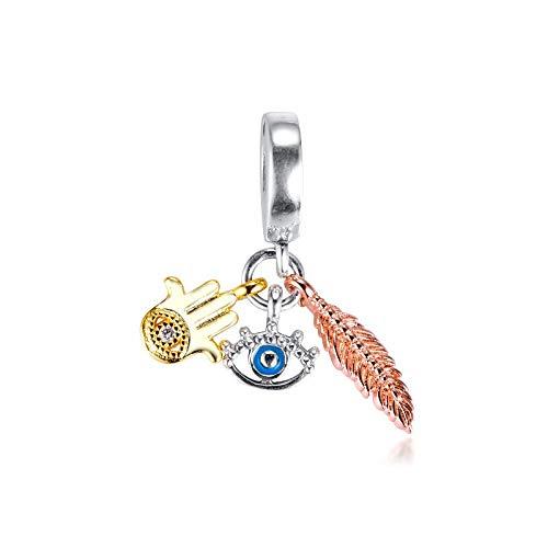 QIAMUCJC Plata de Ley 925 Se Adapta a la Pulsera Pandora Hamsa Ojo Que Todo lo ve Pluma Espiritualidad Charm Beads DIY Fabricación de Joyas BerloqueTrinkets