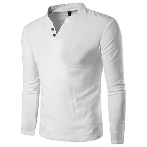 Chemise Homme,FNKDOR Hommes Automne Hiver T-Shirt Décontractée Épissage Henri Bouton Manche Longue Haut Chemisier Blouse Tops(Blanc,M)
