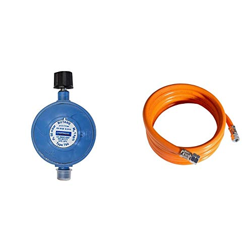 Campingaz Regler 50 mbar mit Schlauchbruchsicherung & Mitteldruckschlauch 800 Orange, 100 x 2 x 2 cm