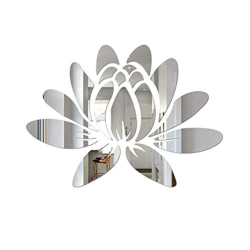 VORCOOL 3D Lotus Acryl Wandaufkleber Abnehmbare Spiegel Aufkleber Umweltfreundliche Wandtattoos für Schlafzimmer Wohnzimmer Badezimmer Dekoration (Silber)