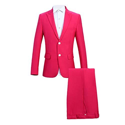 OHQ Herren Party Anzug 3-Teilig Kostüme Normaler Schnitt Festliche Anzüge Party Suits Einfarbig für Party mit Anzughosen und Anzugjacken (Pink, L)