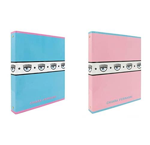 Ferragni - Archivador de 4 anillos claros - Juego de 2 unidades de color rosa y azul + bolígrafo luminoso LED perfumado + llavero con lentejuelas.