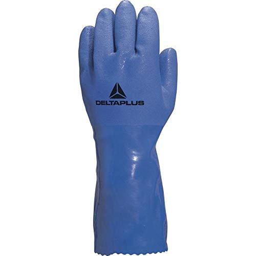 Delta Plus, handschoen drank in PVC op katoenondersteuning type oliearbeiders, 10, blauw
