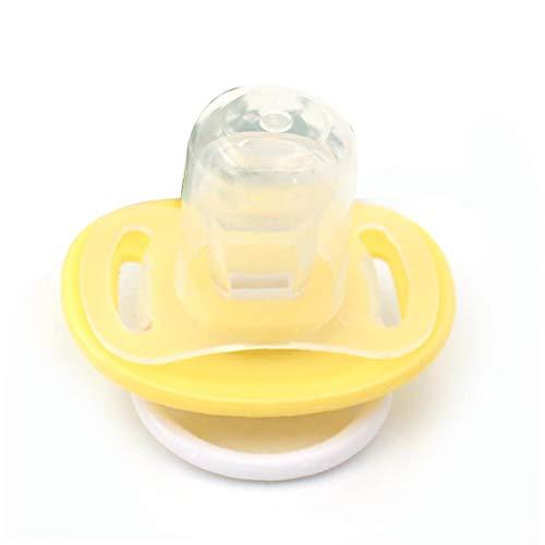 IUwnHceE 1pc Baby Schnuller Schnuller Bpa Frei Silikon-beruhigungssauger Nippel Karton-Muster-weiche Kinder Schnuller Für Babys 0-18 Monate Alt (gelb Flachkopf)