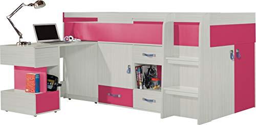 """Ensemble de meubles pour enfants """"MOBI System 21"""". Lit Mezzanine / Lit superposé, bureau, étagères (Tout en un).(matelas non inclus). Frêne/Rose"""