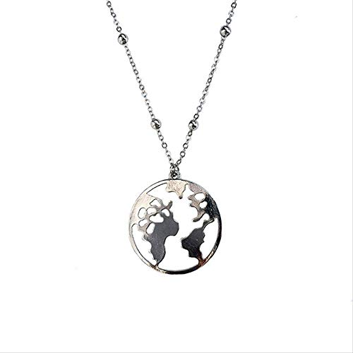 Zaaqio Collar Mapa del Mundo Collar Mujer Collar Colgante Declaración Gargantilla Collar Oro Hombres Cavidad grabada