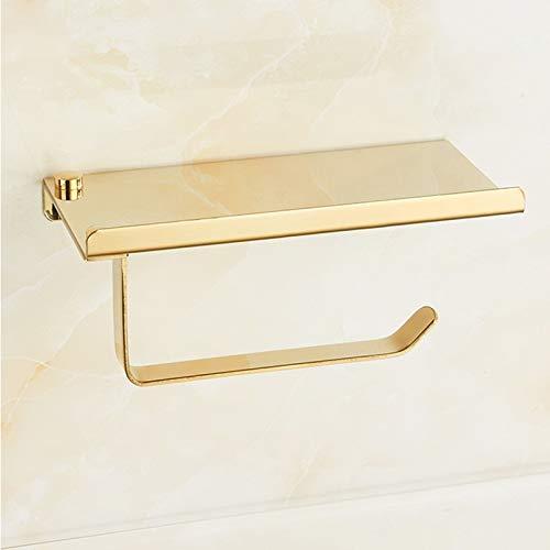 Yanshan Baño Papel Soporte for teléfono Estante de Acero Inoxidable Soporte de Papel higiénico de Montaje en Pared teléfonos móviles de Toalla Accesorios de baño Estante (Color : Gold)