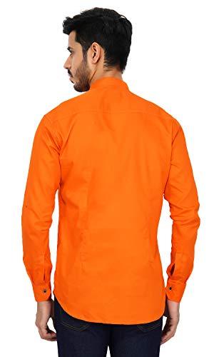 U-TURN Men's Cotton Short Kurta (Orange, Large)