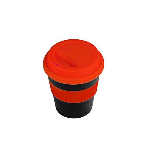 Taza de café de 400 ml, reutilizable, con aislamiento térmico, cerámica, taza de viaje para té, café, viaje, con funda antideslizante y tapa de silicona, color rojo