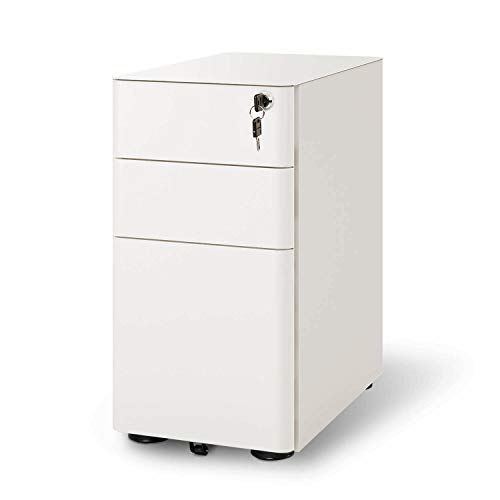 DEVAISE Mobile Slim Filing Cabinet/Pedestal with 3 Drawer for A4 size, Metal, Lockable, 30cm W x 45cm D x 59cm H, White