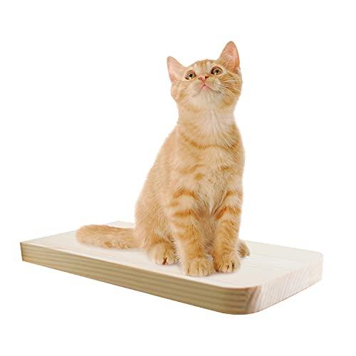 Estante para gatos montado en la pared, estante de madera maciza para gatos Estanterías flotantes de Pared para Adornos Plataforma de Pared de Marco de Escalada práctica Duradera, 1 plataforma