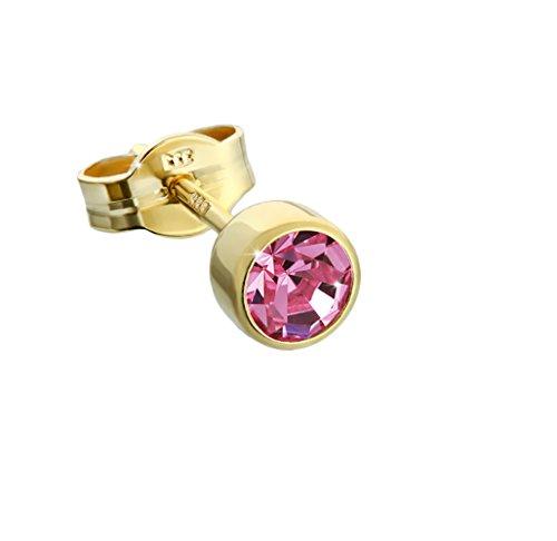 NKlaus Einzel Ohrstecker Gold 333er 8 Karat 4,50mm pink Zirkonia Damen Herren Kinder 6603
