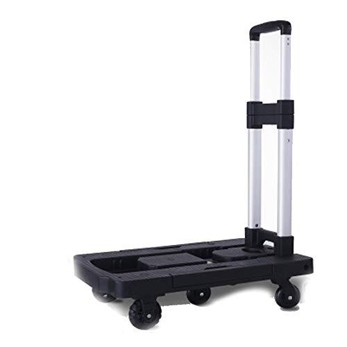 Gepäckwagen, tragbare Trolleys, kleine Anhänger, Aluminium-Legierung, Einkaufswagen, maximale Belastung 100 kg, schwarzes Rad 5,1 cm