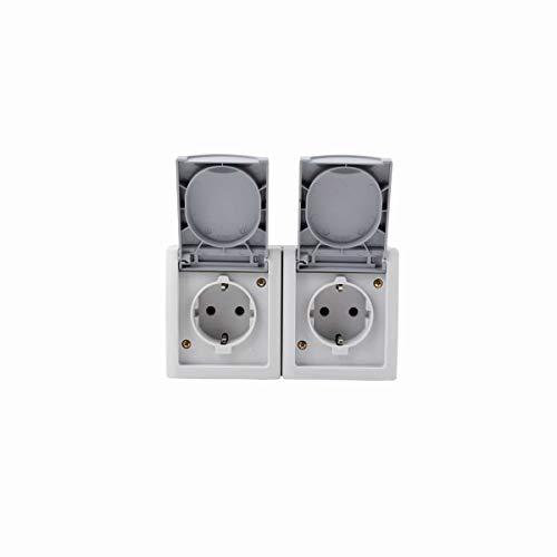 Opbouw Schuko stopcontact 2-voudig horizontaal grijs geschikt voor vochtige ruimtes
