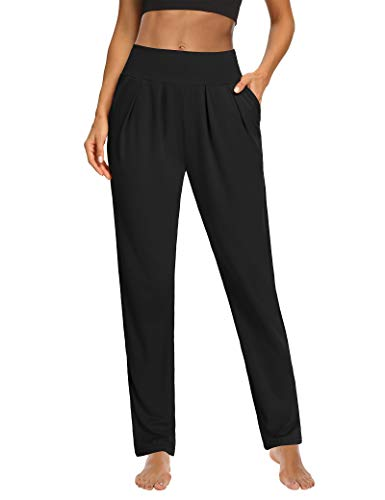 Sarin Mathews Womens Yoga Pants Pleated Wide Leg Loose Comfy Lounge Pants Workout Sweatpants for Women with Pockets Black M