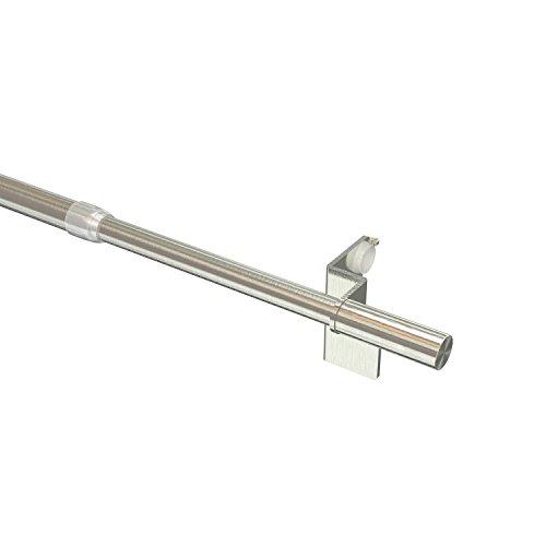 Flairdeco Klemmstangen/Scheibenstangen mit Endstück Zylinder, Metall, Edelstahl-Optik, 50 x 80 cm