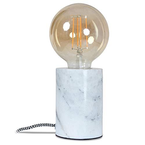 Interieur Discount Design-Tischlampe polierter Marmor-Block Tischleuchte in Zylinder-Form - Weiss