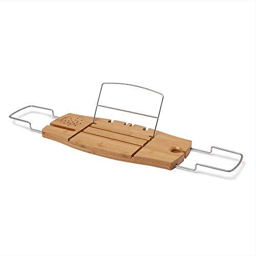 Umbra Aquala Badewannenablage aus Bambus – Ausziehbares Badewannenbrett für Seife, Weinglas, Buch, Tablet, iPad und Badeaccessoires sowie Rasierer und Schwamm, Natur