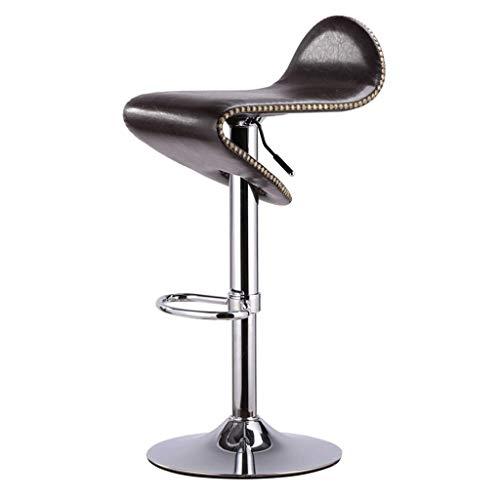Silla de la Barra en Forma de S PU de Cuero cojín Rivet Edge Refuerzo Puede rotar Lifting Fashion Home Desk Electroplated Metal High Taburete (Color : E)