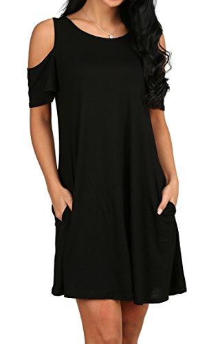 Women's O Neck Cold Shoulder Off T-Shirt Loose Tops Black L