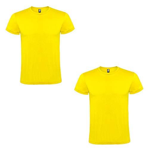 ROLY Amarillo Pack de 2 Camisetas de Manga Corta Color Cuello Redondo Doble, M para Hombre