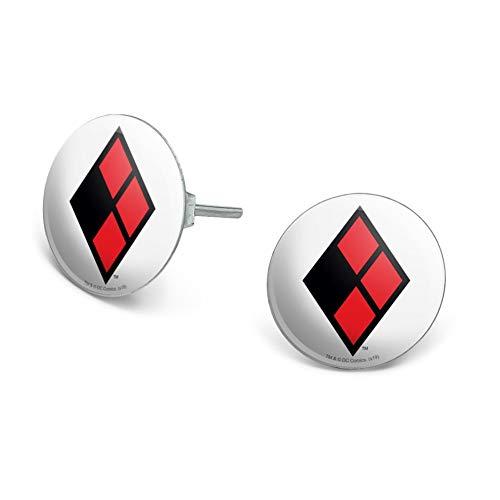 Harley Quinn Logo Novelty Silver Plated Stud Earrings