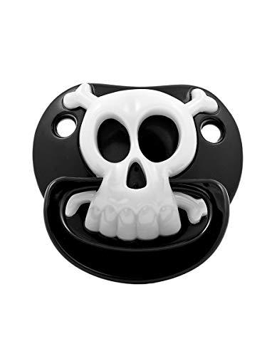 Billy Bob Pacifiers Lustiger Baby-Schnuller mit Totenkopf - Black Pirate Skull - Kleiner Pirat - Fun-Schnuller für Karneval & Halloween